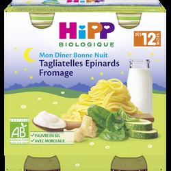 Petit pot bio pour bébé tagliatelles, épinards, fromage HIPP, dès 12 mois, 2x250g