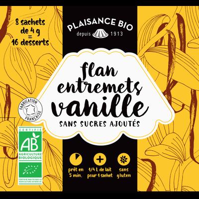 Entremets non sucré vanille bio 8x1/4litre PLAISANCE bio 32g