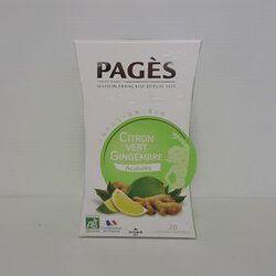 Infusion Bio Citron Vert Gingembre acidulée, 20 sachets, Pagès