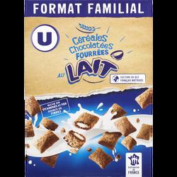 Céréales chocolatées fourrées au lait U, 600g