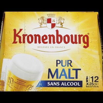 Bière blonde sans alcool pur malt KRONENBOURG, 12x25cl