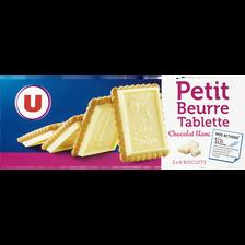 Petit beurre tablette de chocolat blanc U, paquet de 150g