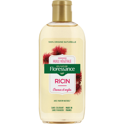Huile de ricin 100% naturelle cheveux & ongles LEA NATURE, bouteille de 160ml
