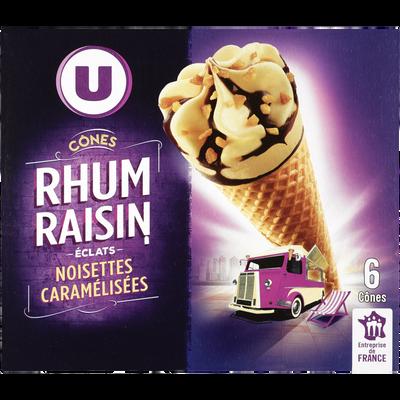 Cônes rhum raisins U, x6, 384g