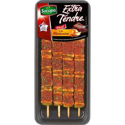 Brochette boeuf extra tendre mexicaine, SOCOPA, 4 pièces, France, barquette, 340g