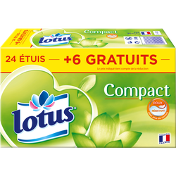 Mouchoirs en papier Compact LOTUS, x24 + 6 gratuits