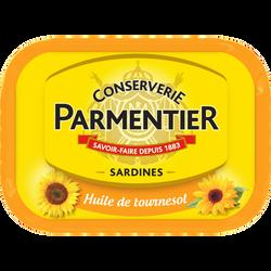 Sardines à l'huile de tournesol PARMENTIER, boîte de 135g