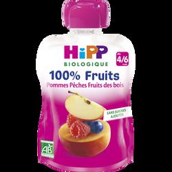 Gourde pommes pèches fruits des bois, dès 4/6 mois HIPP, 90g
