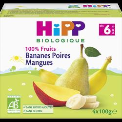 Coupelles 100% fruits bananes poires mangues bio  HIPP, dès 6 mois, 4x100g