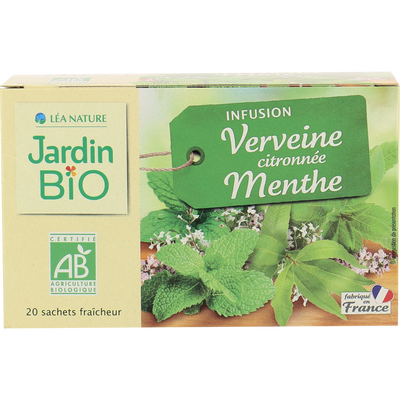 Infusion verveine citronnée menthe JARDIN BIO, 20 sachets