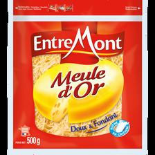 Emmental français rapé, fromage à pâte pressée non cuite au lait pasteurisé meule d'or ENTREMONT,  45% de MG, 500g