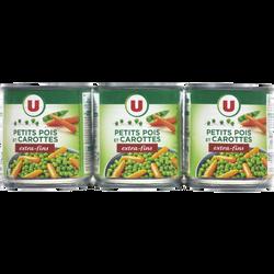 Petits pois extra-fins et carottes à l'étuvée U, 3 boîtes de 1/4, 390g