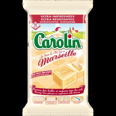 Lingettes nettoyantes pour sols au savon de Marseille CAROLIN, 15 lingettes