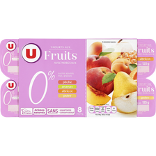 Yaourt allégé en sucres aux fruits jaunes U, 0% de MG, 8x125g