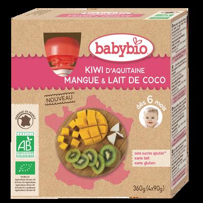 Gourde Kiwi Mangue Coco BABYBIO, 4x90g