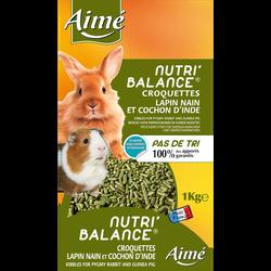Nutri'balance croquettes lapin nain et cochon d'inde, AIME, 1k
