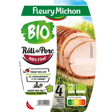 Fleury Michon Rôti De Porc Supérieur Bio -25% De Sel Fleury Michon, X4 Soit 120g