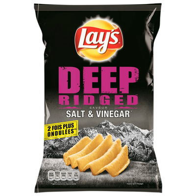 Deep ridged chips saveur sel & vinaigre LAY'S, sachet de 120g