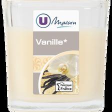 Contenant carré U MAISON, en verre, avec bougie parfumée vanille, ivoire