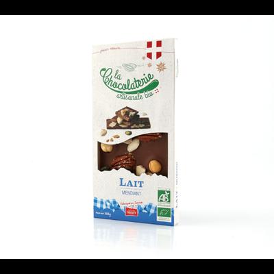 Tablette de chocolat au lait mendiant bio LA CHOCOLATERIE ARTISANALE, 100g