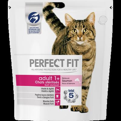 PERFECT FIT, chat sec adulte stérilisé riche en saumon, 400g