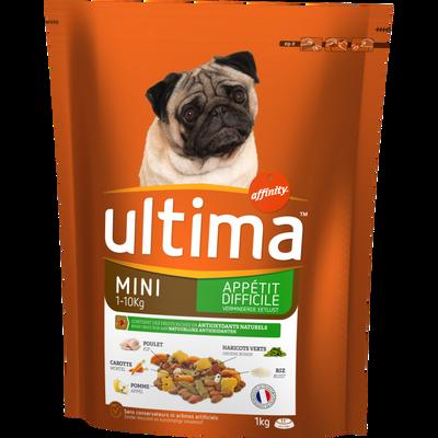 Croquettes pour petits chien à l'appétit difficile au boeuf Mini UlLTIMA,1kg