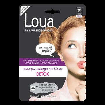 Loua by L. Dumont Masque Pour Le Visage En Tissus Détox Au Charbon Végétal Loua