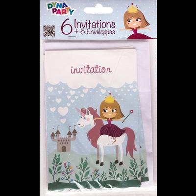 Invitations + enveloppes PRINCESSE, 6 unités