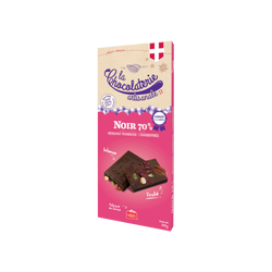 Tablette chocolat noir 70% framboise cranberries LA CHOCOLATERIE ARTISANALE, 100g