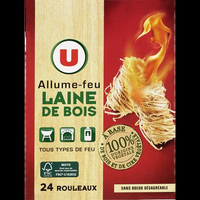 Allume-feu laine de bois 100% d'origine végétale U, pack de 24 rouleaux