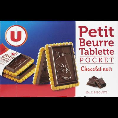 Petit beurre tablette de chocolat noir U, 10 pochon de 2 soit  250g