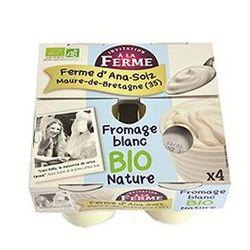 Fromage blanc BIO au lait frais de vaches, nature, FERME D'ANA-SOIZ, 4 pots de 100g