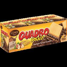 Gaufrettes fourrées pralinés QUADRO Pocket, 9 unités, 187g