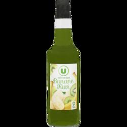 Sirop de recette gourmande banane/kiwi U, bouteille de 70cl
