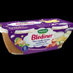 Bols pour bébé coquillettes, légumes et lait BLEDINA, dès 12 mois, 2x200g