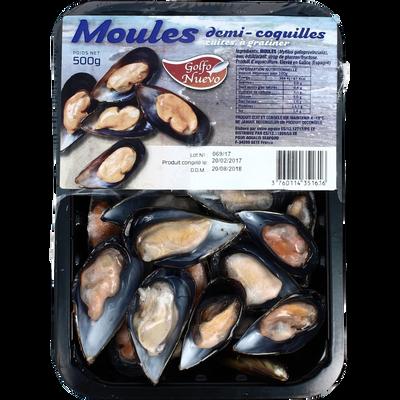 Moules 1/2 coquilles GOLFO NUEVO, barquette de 500g