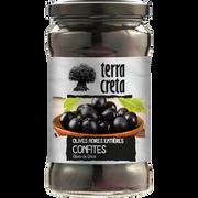 Terra Olives Noires Confites Entières Sélection Terra Creta, Pot En Verre De160g