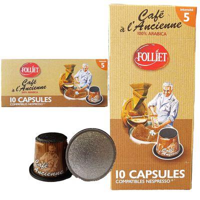 Capsules de café à l'ancienne compat. nespresso FOLLIET, x10