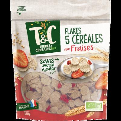Flakes 5 cereales aux fraises TERRES ET CEREALES, 350 g