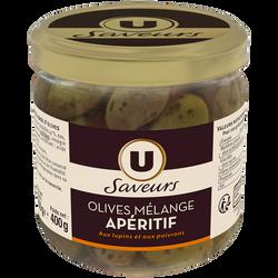 Olives mélange apéritif U SAVEURS, bocal de 250g