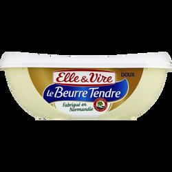 Beurre doux tendre normand ELLE & VIRE, 82% de MG, barquette de 250g