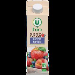 Pur jus 100% pomme et myrtille issu de l'agriculture biologique U BIO,1 litre