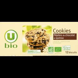 Cookies quinoa pépites chocolat U BIO, paquet de 175g