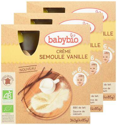 Gourde Crème Semoule Vanille BABYBIO dès 6 mois 4x90g
