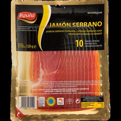 Jambon serrano Espagnol ESPUÑA, 10 tranches fines, 120g