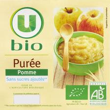 Purée de pommes bio U, 4 pots de 100g  soit 400g