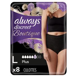 Culottes discreet incontinence lourde black taille L ALWAYS X8CT