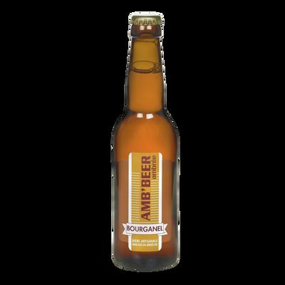 Bière ambrée amb'beer BOURGANEL 5°, bouteille de 33cl