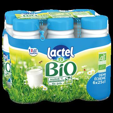 Lactel Lait Bio Demi-écrémé - Lactel Uht - Bouteille 6x25cl
