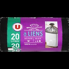 Sacs poubelle 100% recyclés à lien U, 20l, x20